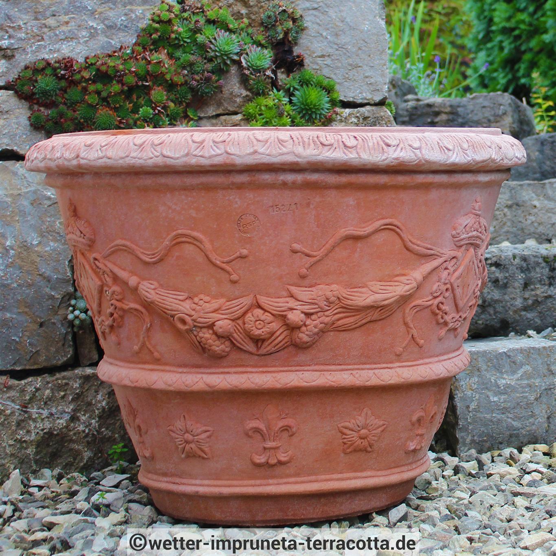 impruneta terracotta pflanztopf verziert