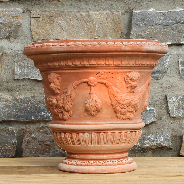 impruneta terracotta verzierter pflanztopf